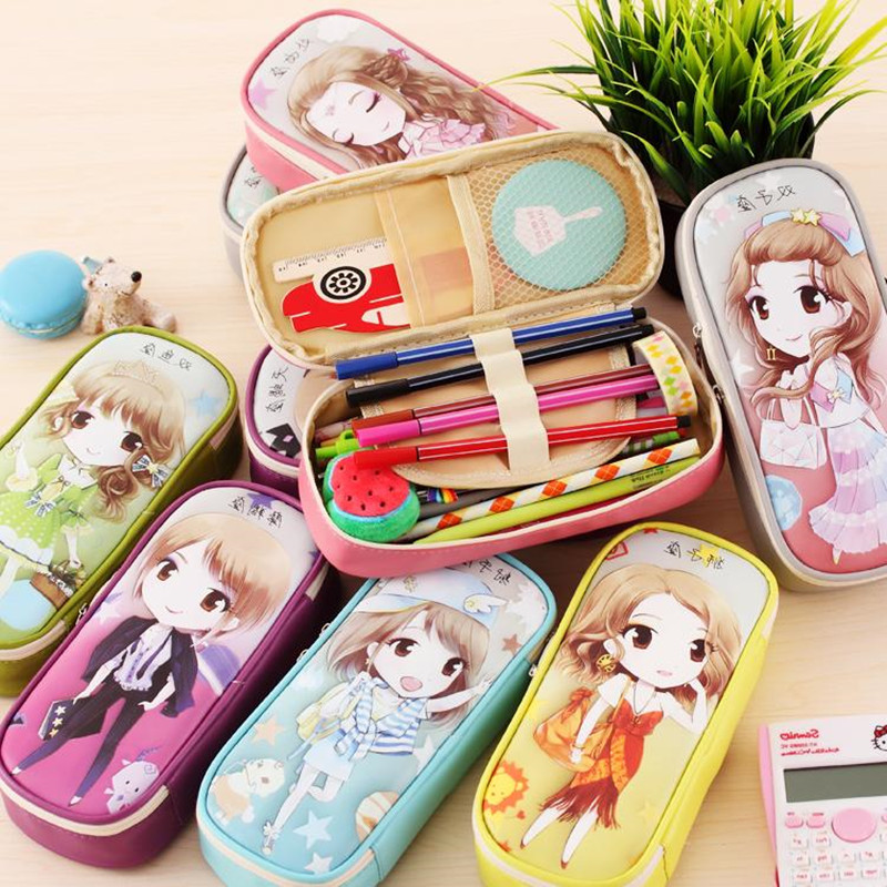 Cute Cartoon Large Capacity PU Leather Pencil Case Girls Boys Pen Bag Korean Big Pencil Box Multifunction Stationery Supplies pencil case korean stationery creative simple large capacity pu zipper pencil case cute student supplies high quality waterproof