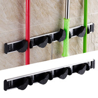 Multifunctional Kitchen Wall Mounted Mop Rack Bathroom Storage Mop Broom Holder Aluminium Alloy Storage Hanger Rack