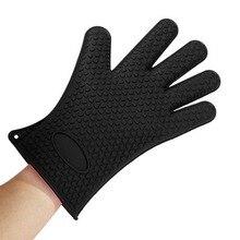 5576 Glove Heat Resistant Silicone Household Full Finger Anti Slip Glove Oven BBQ Mitts Gloves