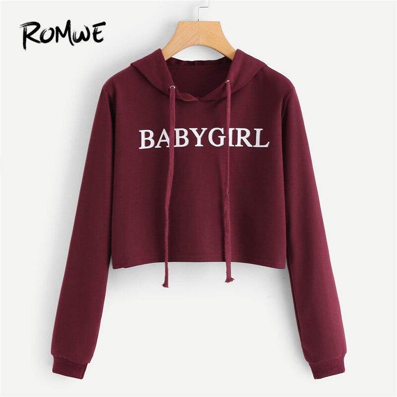 72d0eb5c2b3c2e Details about ROMWE Women Autumn Cute Hoodies Slogan Print Crop Top  Sweatshirt Casual Burgundy