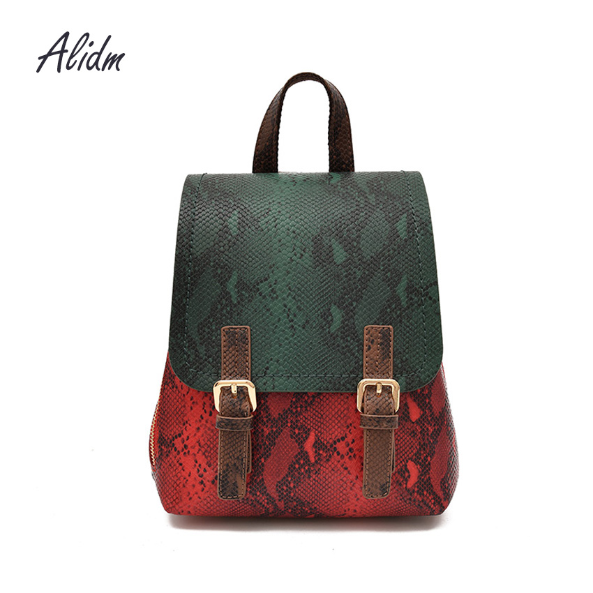Serpentine Pattern Leather Backpack Women School Bags For Teenage Girls Fashion Rucksacks mochila feminina 2018 New Women Bags