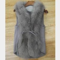 Sweater vest female long paragraph large size cardigan jacket sweater sleeveless vest wide fox fur collar wool winter