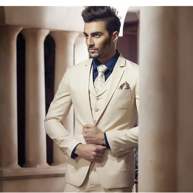 Suit Tuxedos Ivory Handsome Wedding Suits Design For Men Attractive Prom Hot
