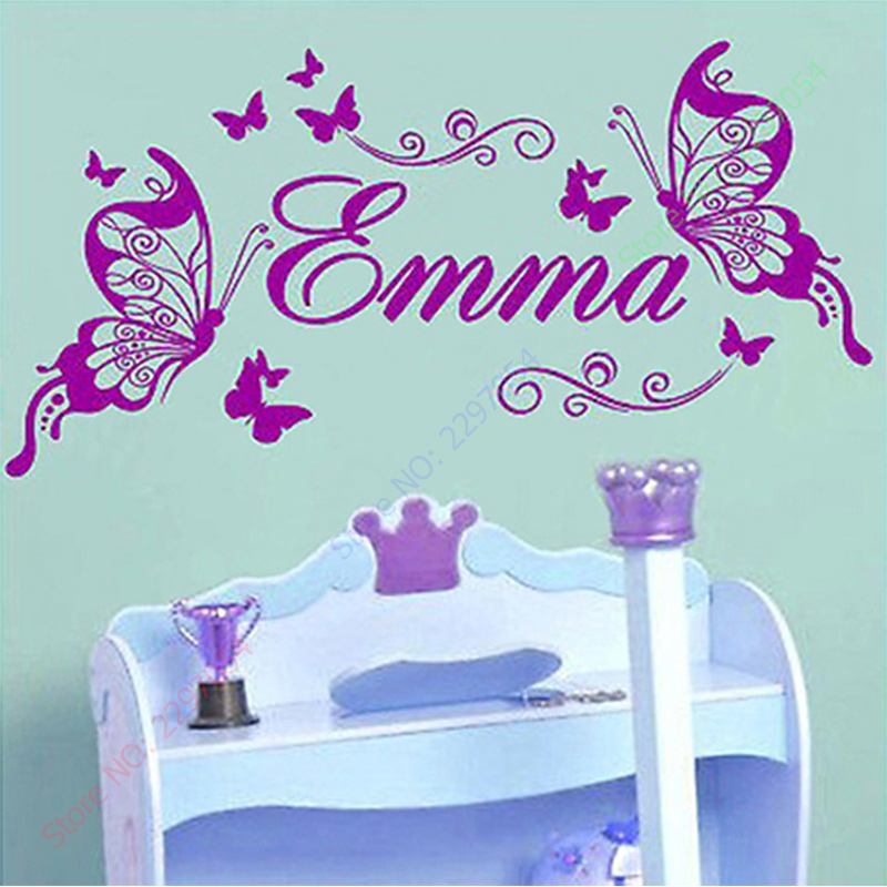 2017 New Butterflies Personalized Name Vinyl Butterfly Wall Mural Nursery  Vinyls Girls Room Decor Wall Stickers