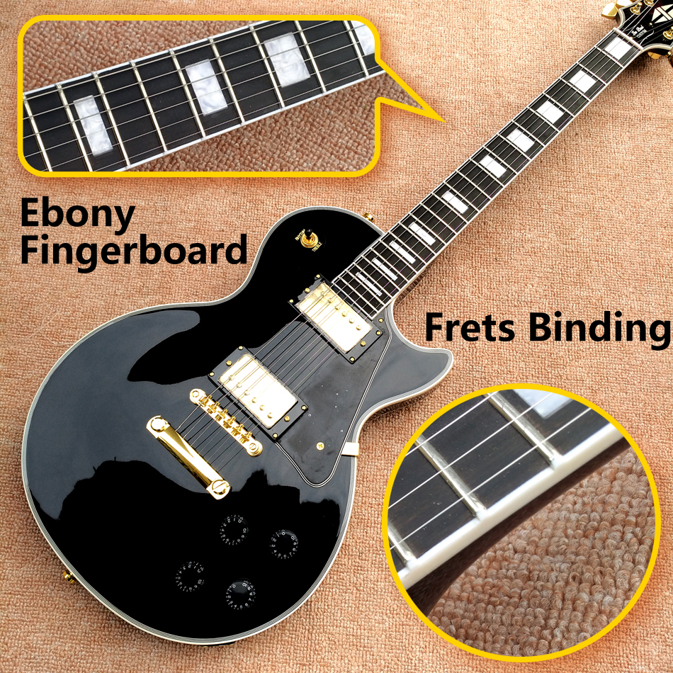 Best Price Top Quality LP Custom Shop Black Color Electric Guitar EBONY Fretboard Binding frets Golden Hardware Freeshipping