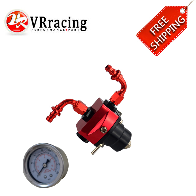FREE SHIP DIY Black&Red Universal fpr AN6 Fitting EFI fuel pressure regulator with 2PCS PUSH ON LOCK HOSE END FITTINGS .gauge universal auto fpr an6 fittings fuel regulator red 7mgte mkiii with hose line fuel pressure regulator