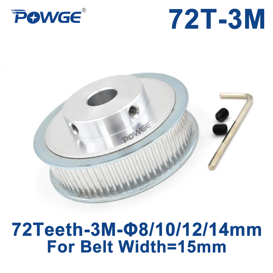 POWGE 72 Teeth HTD 3M Timing Pulley Bore 8mm 10mm 12mm 14mm for Width 15mm 3M Synchronous belt HTD3M Belt pulley 72Teeth 72T CNC lupulley 1pc wheel timing pulley htd 5m 40t teeth 21mm width 6mm 8mm 10mm 12mm 14mm 15mm bore pulley for belt drive synchronous