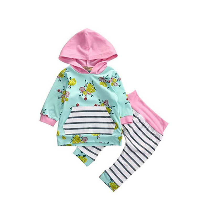 100% Cotton 2PCS Outfits Clothes Set Casual Cute Kids Baby Girls Floral Hoodies Tops+Pants