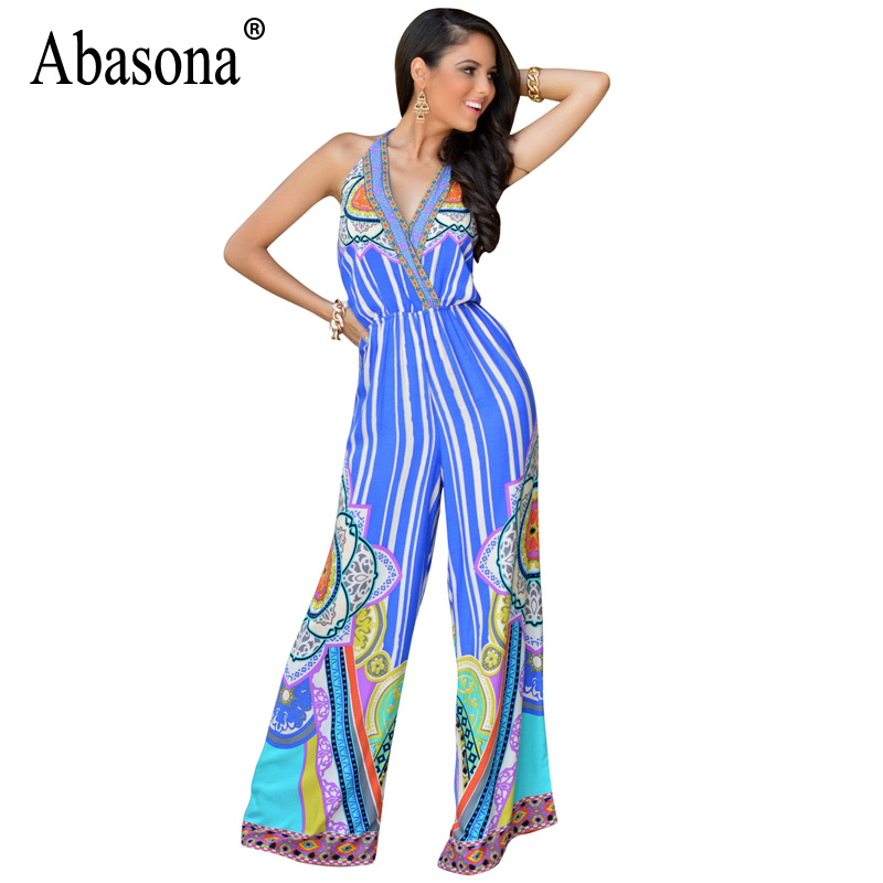 Abasona 2018 Summer Floral Print Rompers Jumpsuits Womens Sexy Deep V Neck Backless Striped Wide Leg Pants Playsuit Overalls