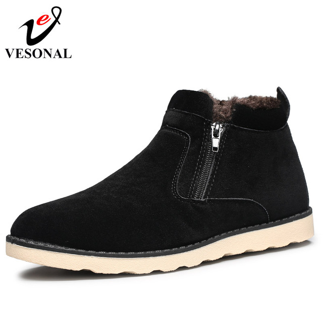 VESONAL 2018 Fashion Cow Suede Ankle Boots Winter Fur Snow Boots For Men Comfortable Short Plush Solid Male Shoes Adult Footwear