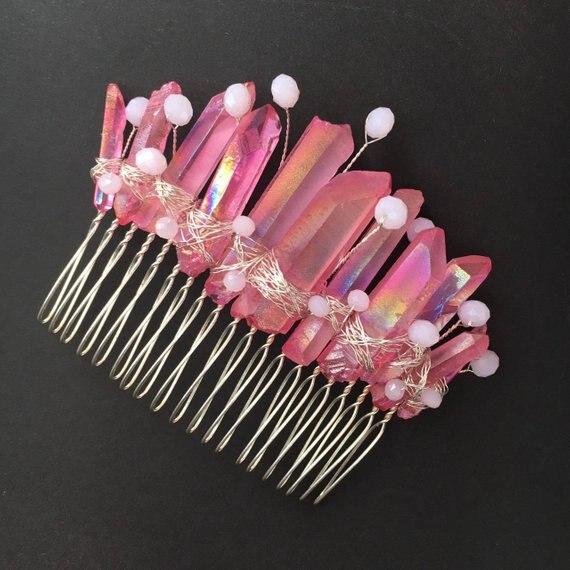 Pink Crystal Quartz Comb Mermaid Crown Rave Headpiece Hair Clip Mini Tiara Pink Decorative Hair Comb Crystal Quartz Crown Comb