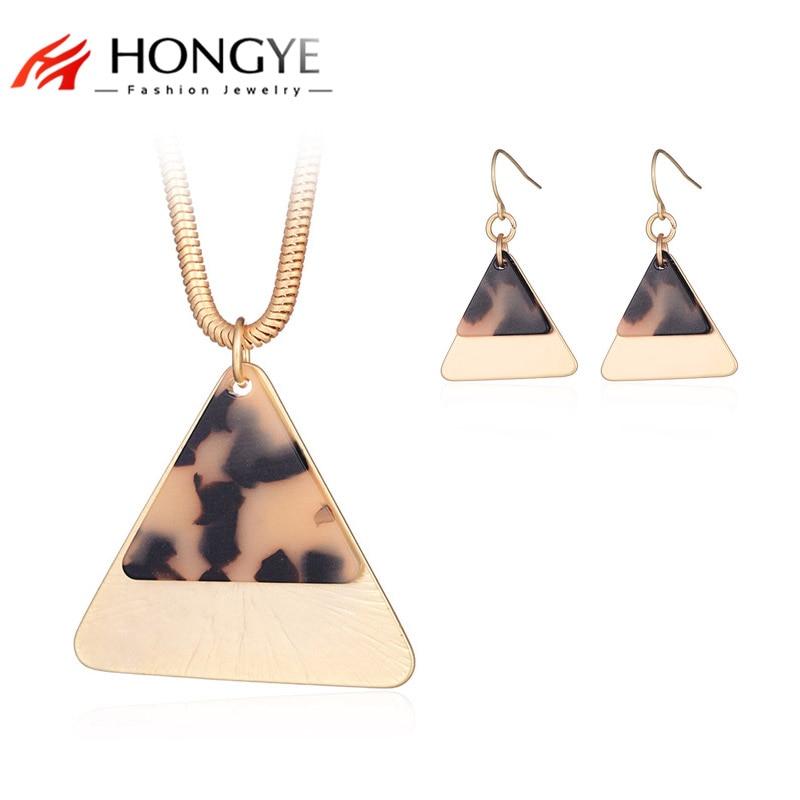 HONGYE Double Triangle Jewelry Sets Lady Charm Design Gold Color Resin Stone Geometric Necklace Pendant & Drop Earrings Bijoux