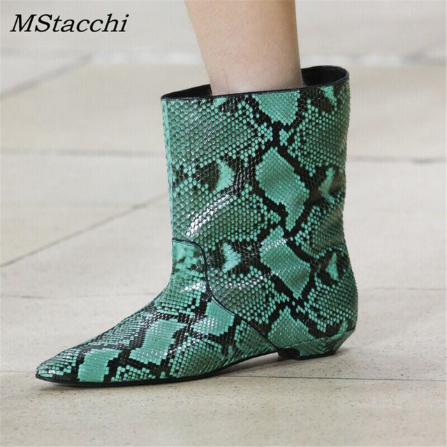 MStacchi Fashion Runway Leather Short Boots Pointed Toe Yellow Snake Skin Ankle Boots For Women Rain Boots Flat Heel Botas Mujer