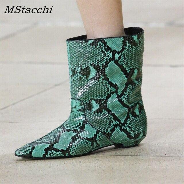 MStacchi Moda Pist Deri kısa çizmeler Sivri Burun Sarı Yılan Cilt yarım çizmeler Kadınlar Için yağmur çizmeleri Düz Topuk Botas Mujer