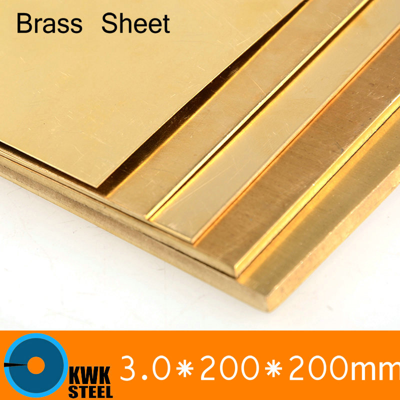 3 * 200 * 200mm Brass Sheet Plate of CuZn40 2.036 CW509N C28000 C3712 H62 Customized Size Laser Cutting NC Free Shipping 24 12 200mm od id length brass seamless pipe tube of astm c28000 cuzn40 cz109 c2800 h59 hollow bar iso certified free shipping