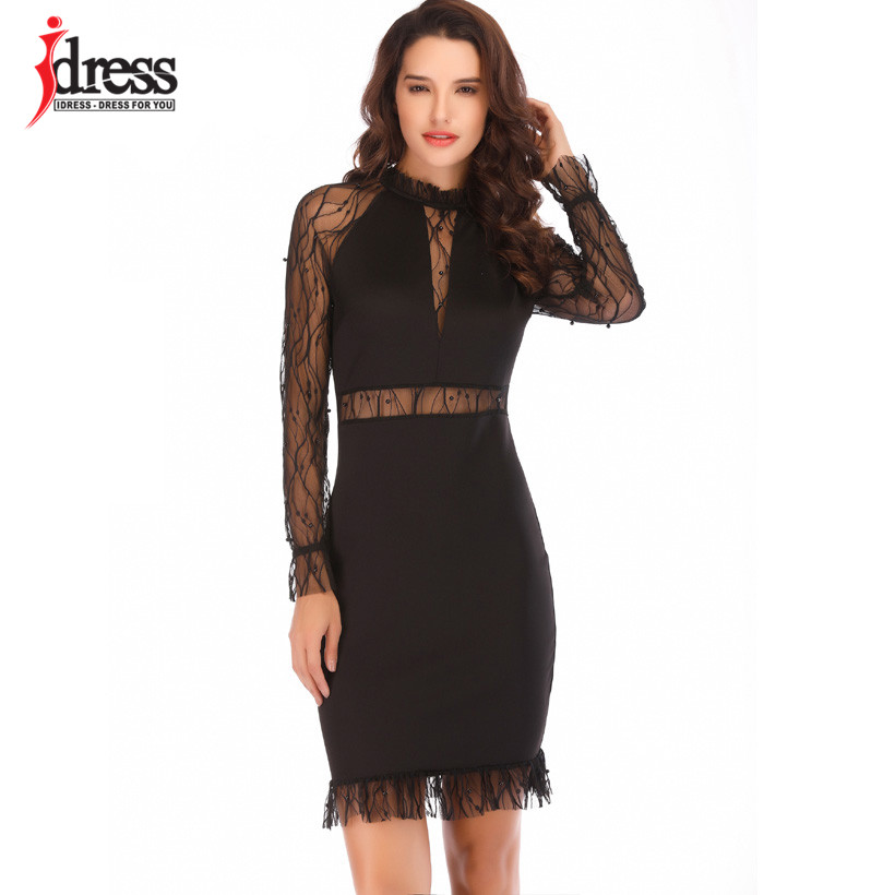 706f4999aa IDress Black White Sheer Sleeve Bodycon Dress Hot Sexy Women Night Club  Wear Insert Mesh Pearls Details Package Hips Mini Dress