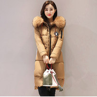 2017 New Fashion Brand Large Size Fur Collar Female Parka Hooded Coat Thicken Warm Outwear Long