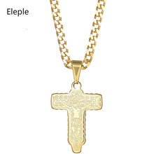 Eleple Stainless Steel Cross Religion Fashion Jewelry Unique Couple Necklace Birthday Gifts Manufacturer Wholesale S-N353