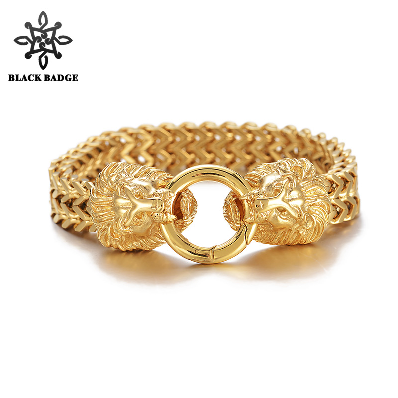 Gold Lion Heads Clasp Double Foxtail Box Link Bracelet 316L Stainelss Steel Charm Hip Hop Jewelry Gold Color Stainless