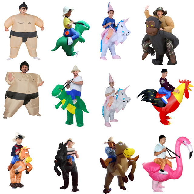 Inflatable Dinosaur Costumes Blowup Man Green Funny Mascot Party Unicorn Cosplay Dress Halloween costume for Women Adult Kids