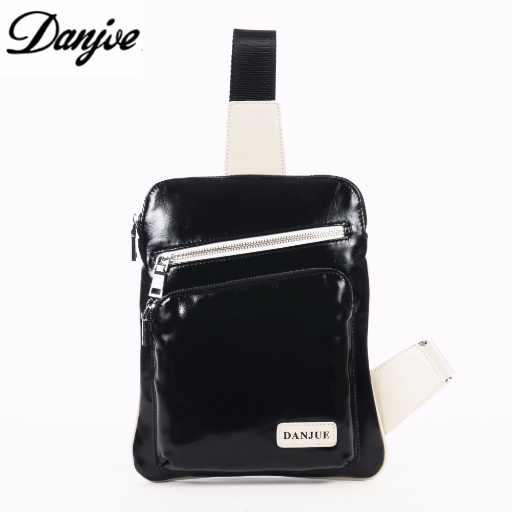 DANJUE New Leisure Chest Bag Men Genuine Leather Pack Crossbody Shoulder Messenger Sling Bag Travel Double Zipper Bags D8708-BLA
