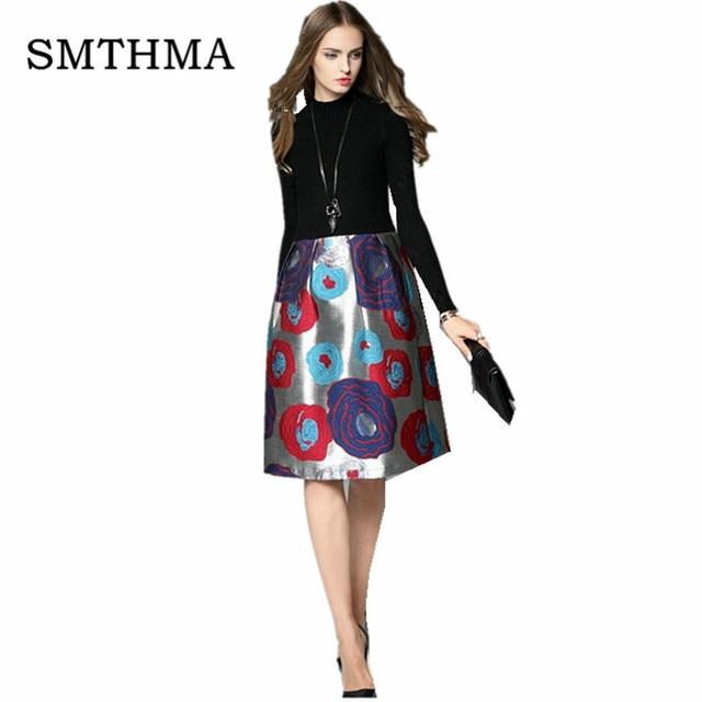 HIGH QUALITY Newest 2017 Designer Dress Women's Long Sleeve Turtleneck Charming Floral Patchwork  Jacquard Dress