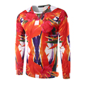 New Arrival Men's T-Shirt Long Sleeve O Neck Men Printing Exotic flowers T Shirt 3D Design Red Top Tees t shirt men
