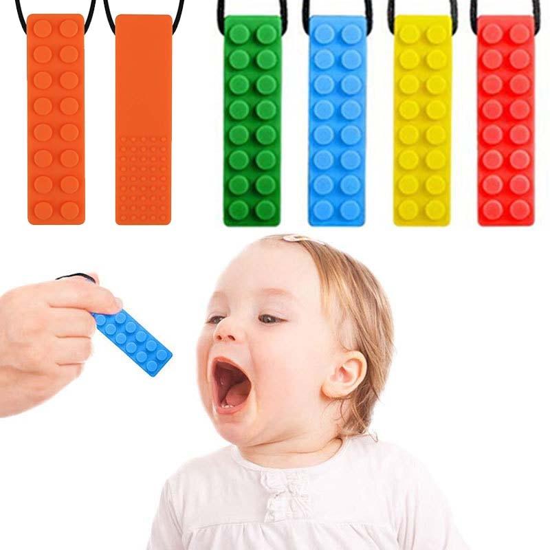4 Pcs Kid Pencil Topper Chew Sensory Necklace Brick Autism Silicone Bite Teether