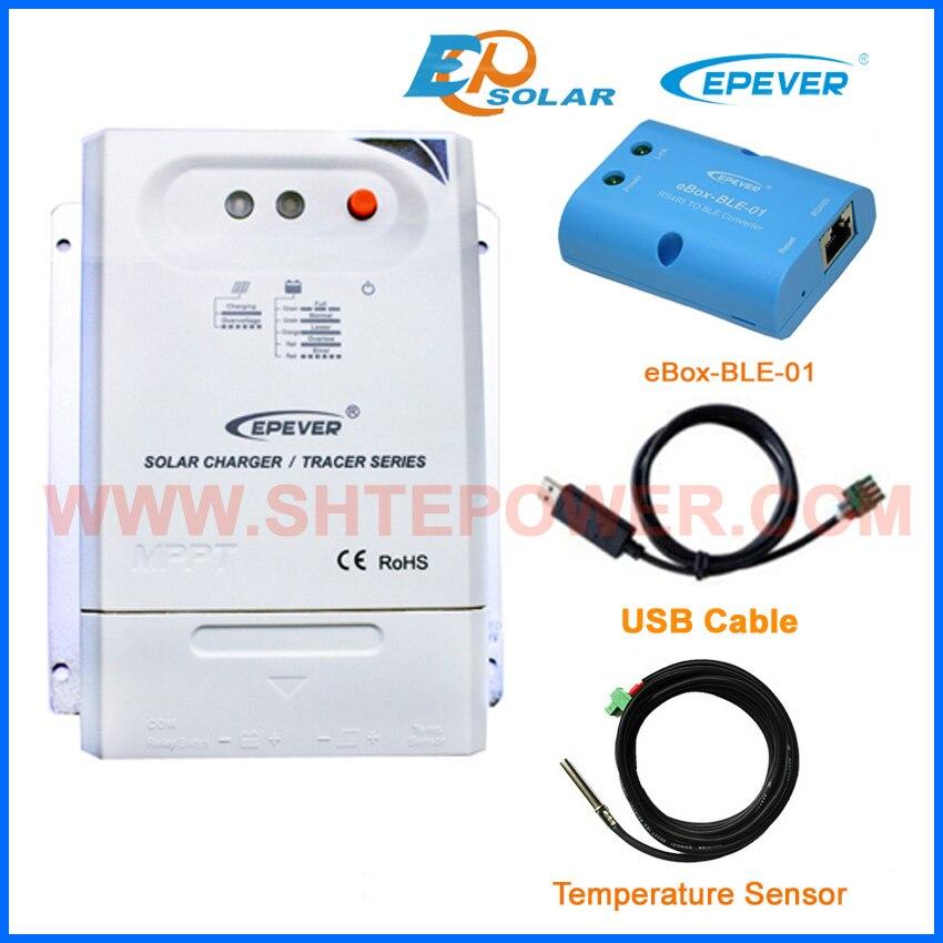 все цены на MPPT EPEVER Solar Panels system 12V 24V auto work EPsolar Tracer2210CN USB cable+temp sensor eBOX-BLE-01 Phone APP 20A онлайн