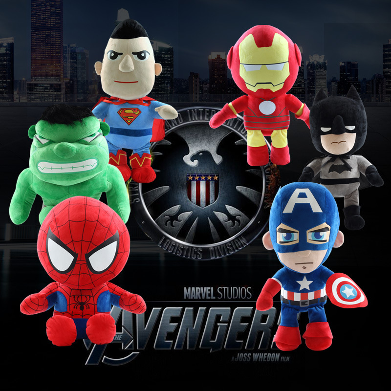 Hot 1 pcs 20cm The Avengers Super hero Plush Toys Cute Captain America Spider Man Iron Man Batman Superman Doll Baby Kids Toy dc marvel comics pencil wallets avengers hero captain america spider man iron man rectangle long pencil bag zipper pouch purse