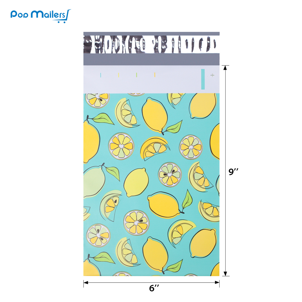 100pcs 15x23cm 6x9 inch lemon fruit pattern Poly Mailers Self Seal Plastic Envelope Bags in Paper Envelopes from Office School Supplies