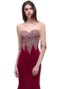 Image 3 - Robe de Soiree Longue Cheap Lace Half Sleeve Mermaid Burgundy Evening Dress Sexy Sheer Back Appliques Evening Gowns
