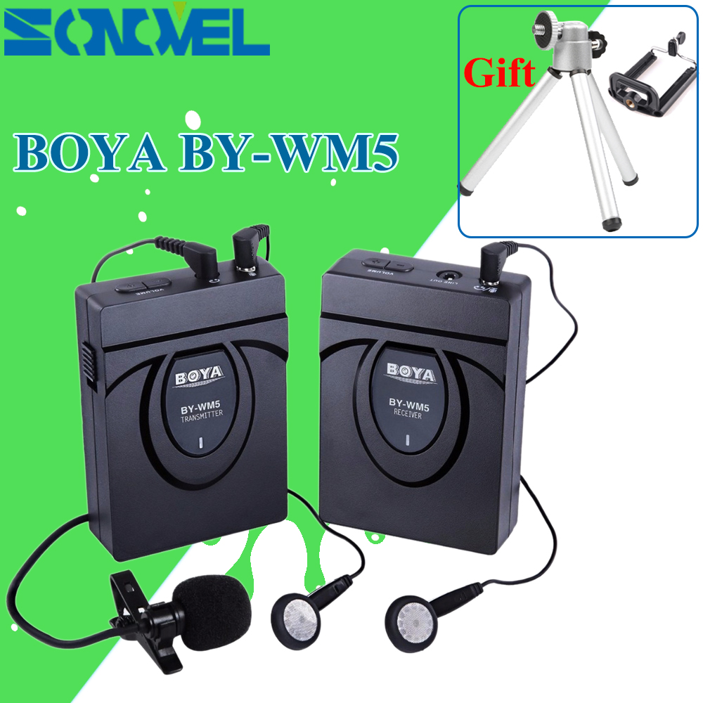 BOYA BY-WM5 Pro Wireless Lavalier Lapel Microphone System for Canon Nikon Sony Pentax DSLR Camera DV Camcorders Audio Recorder boya by wm5 dslr camera wireless lavalier microphone recorder system for canon nikon sony dslr camera camcorder audio recorder