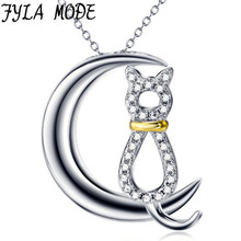 FYLA MODE Moon And Cute Cat Pendant With Chain 100% Sterling Silver 2017 Hot Fashion Zircon Jewelry Women Necklaces Gift