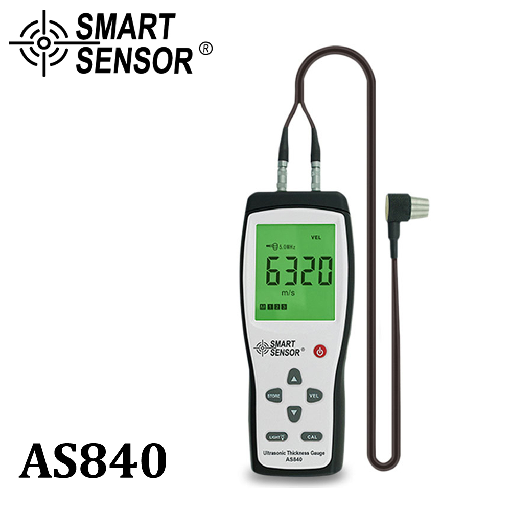 Digital Ultrasonic Thickness Gauge Sound Velocity Meter Metal Depth tester 1.2-225mm Smart Sensor AS840 with LCD display exploit high precision 0 01mm profession digital lcd display thickness gauge meter paper leather fabric thickness tester