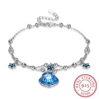 Bracelets 100% Original Solid 925 Sterling Silver High grade crystal Snake Chain Bracelet Bangle Wedding Jewelry for Women Gift