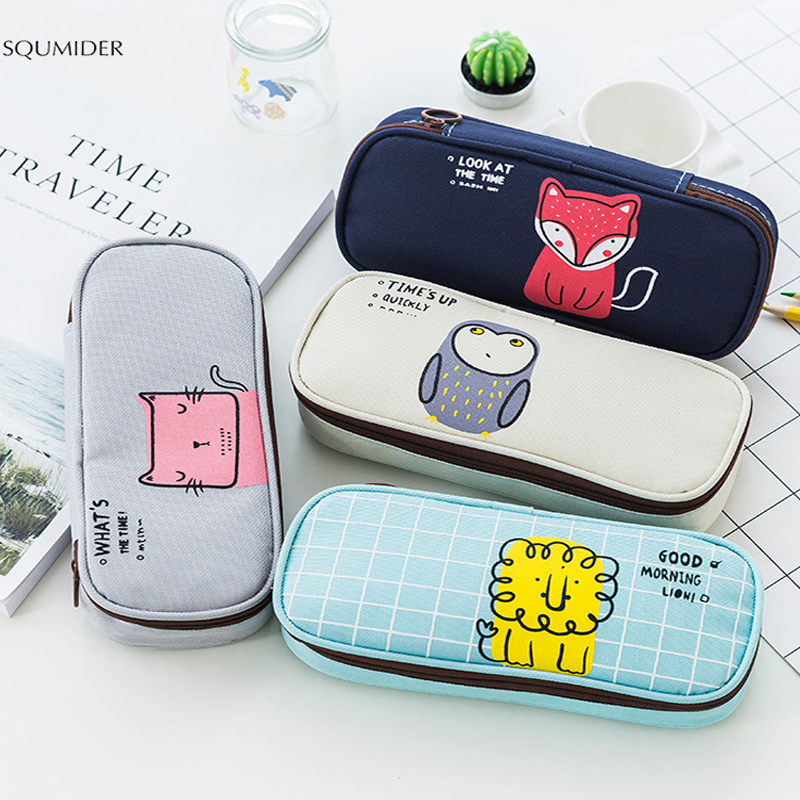 Cute Cartoon Animals Pencil Case Students Morning Call Pencil Bag School Supplies Stationery Zipper Pen Box For Boys And Girls