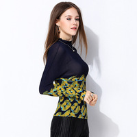 2019 Spring New Fashion Women's Clothing ISSEY MIYAKE Pleated Bottoming Female Long sleeved Color Matching Slim Slimming T shirt