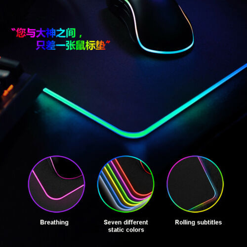 RGB Gaming Mouse Pad Rubber Mat RGB Colorful LED Lighting Gaming Mouse Pad For PC Computer 3D24 2