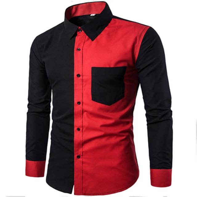 2017 nova moda vermelho e preto dos retalhos dos homens camisas de