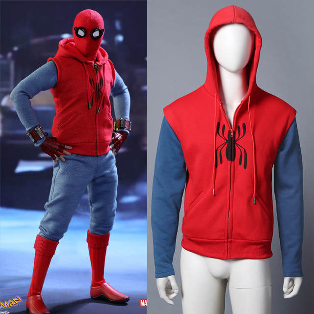 38884b56179 Spider-Man  Homecoming Coat Peter Parker Hoodie Sweater Cosplay Costume 1 1  New