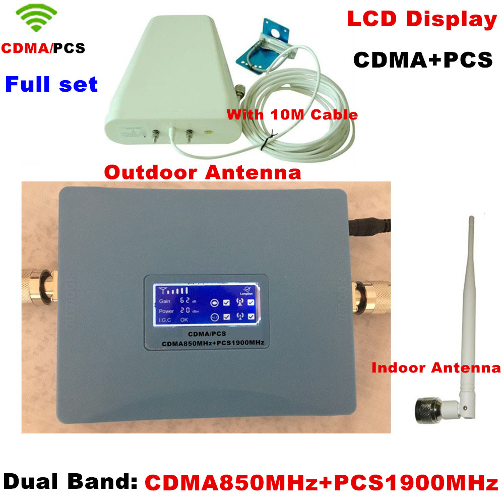 Full Set Dual Band GSM / CDMA 850mhz PCS 1900mhz Cellphone Signal Amplificateur Cellulaire Mobile Booster Repeater Antenna Cable