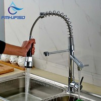 Chrome Brass Luxury Spring Hot And Cold Kitchen Sink Faucet Single Handle Double Spout Kitchen Mixer