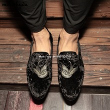 Hot Sale 2017 Italian Casual Men Footwear Red Bottom Velvet Slippers Breathable Black/blue Male Flats Sapatos Masculinos