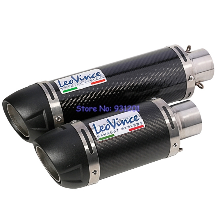 Inlet 51mm Motorcycle Leovince Exhaust Pipe Muffler Carbon Fiber Universal for GSR750 CBR500R K6 K7 K8 MT07 MT09 Z1000 etc.(China)