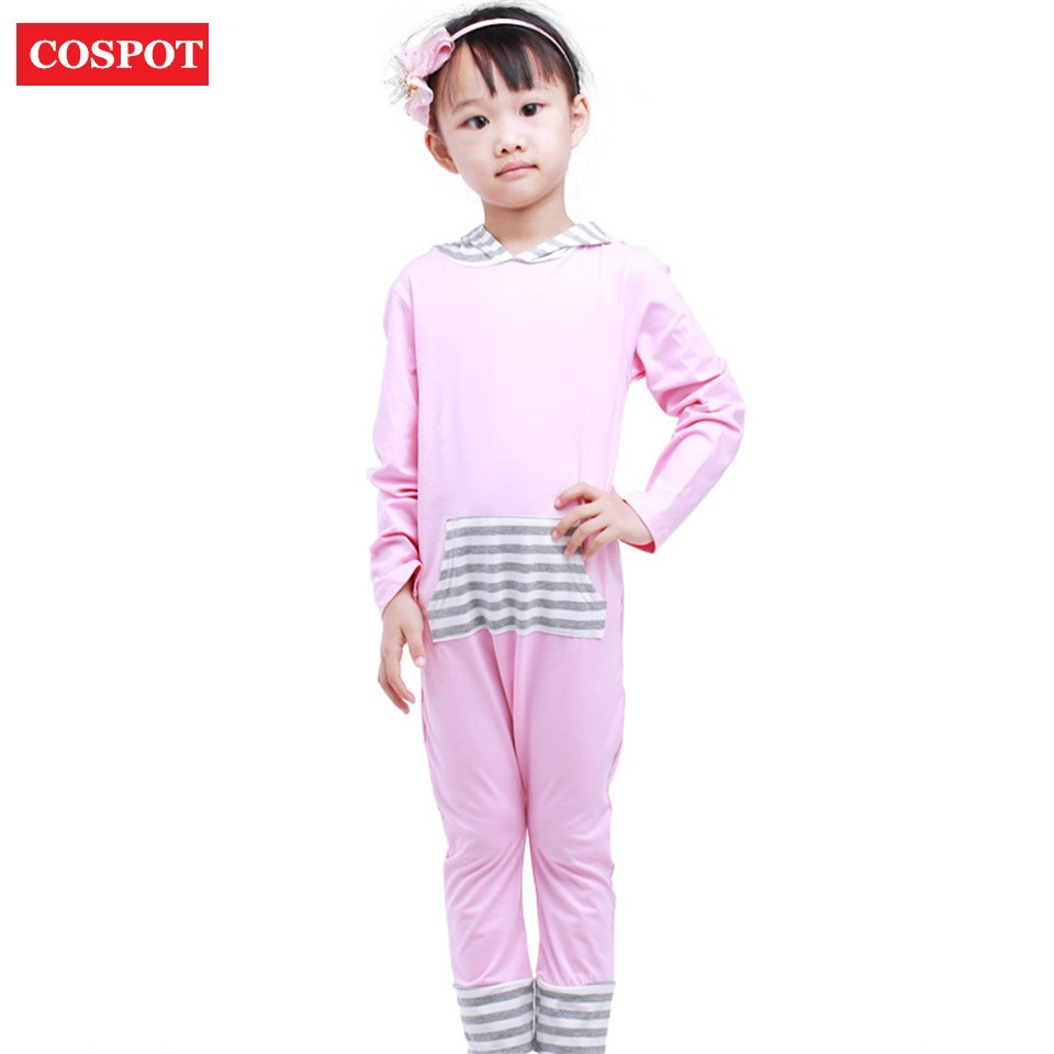 COSPOT Baby Girls Harem Romper Girl Spring Autumn Hooded Jumpsuit Girls Fashion Tank Jumper Toddler Hooded Pajamas 2018 New 30