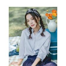 Inman summer turn down collar 레트로 스트라이프 한국 패션 문학 모든 일치하는 하프 슬리브 여성 셔츠