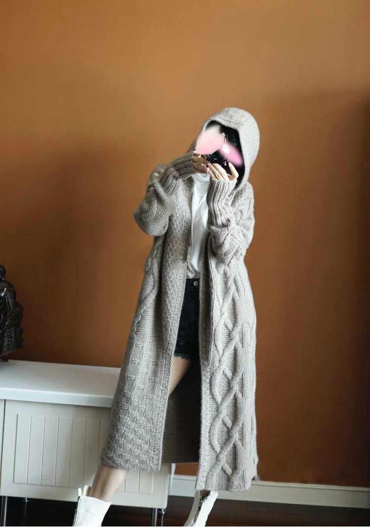 Herbst winter Neue mit kapuze mantel Kaschmir Strickjacke Pullover frauen einfarbig Mantel dicke weiche Strickjacke mode mantel lange