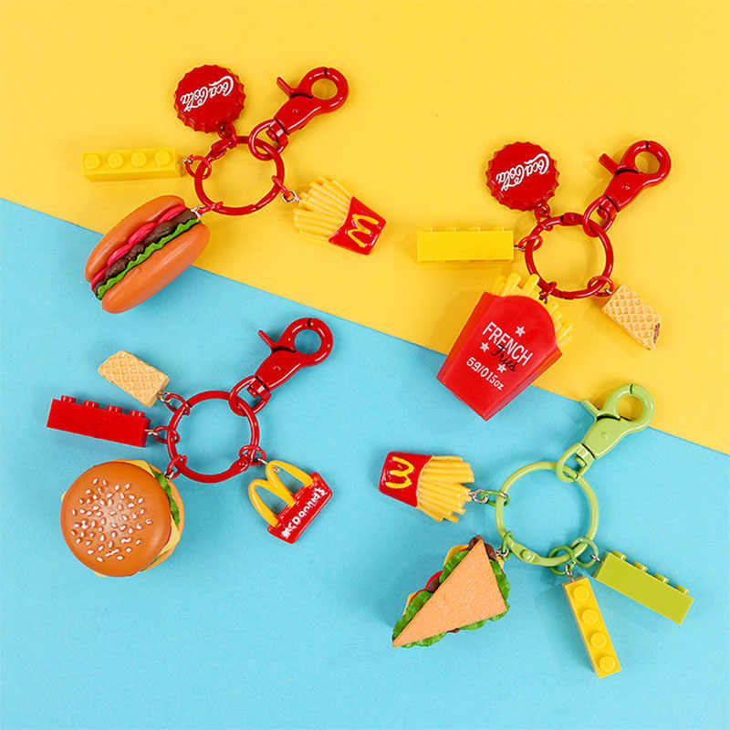 Fashion Cartoon Burger French Fries Cola Pendant Key Chains Key Ring Car Bags Ornament Keychain For Women Accessories Jewelry