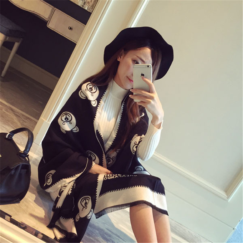 2016 Winter Luxury Brand New Big Cashmere Shawl Scarf For Women Dual-use Thick Warm Air-conditioned Room Bear Ladies Scarf
